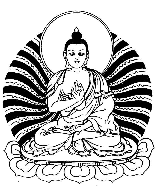 633x747 Buddhist Line Art Buddha Image, Teaching Mudra