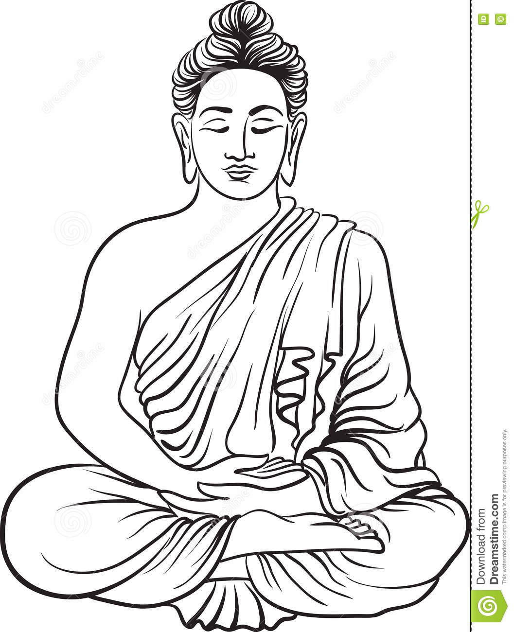 1057x1300 Drawing Of A Buddha Drawing Of A Buddha Statue Stock Vector. Image