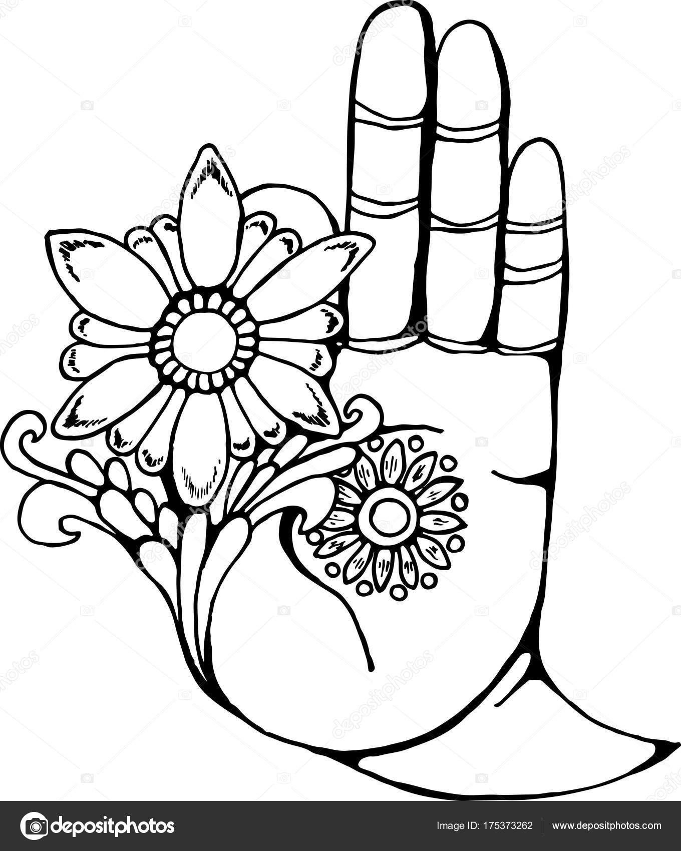 1360x1700 Illustration Of A Buddha Hand Holding A Flower. Black And White