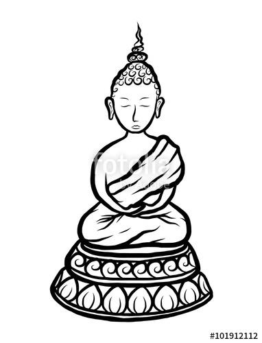 382x500 Buddha Cartoon Vector And Illustration, Black And White, Hand
