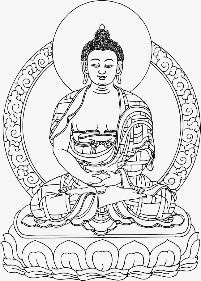 650x905 Black And White Line Drawing Of Buddha, Buddhism, Hand Painted