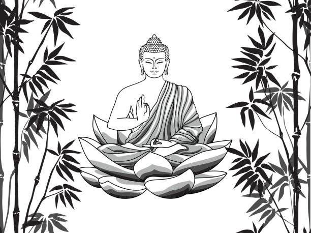 612x458 buddha black and white drawing