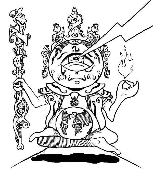 600x679 Buddha Black And White Drawing By Sotuland Art
