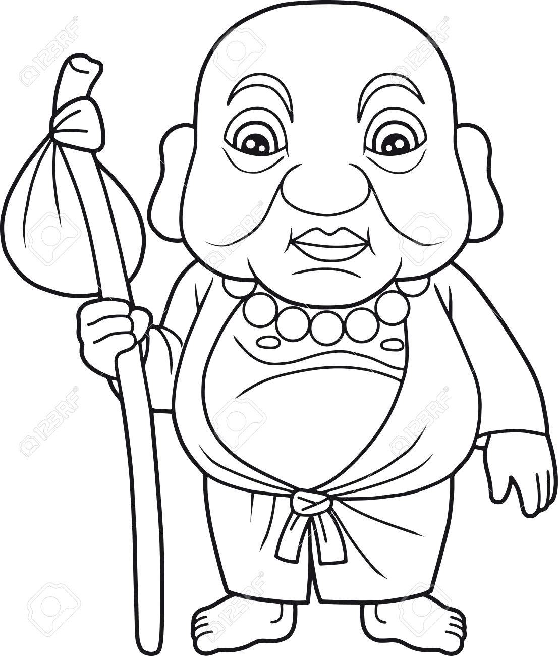 1106x1300 Cartoon Buddha Preparing For A Long Journey Royalty Free Cliparts