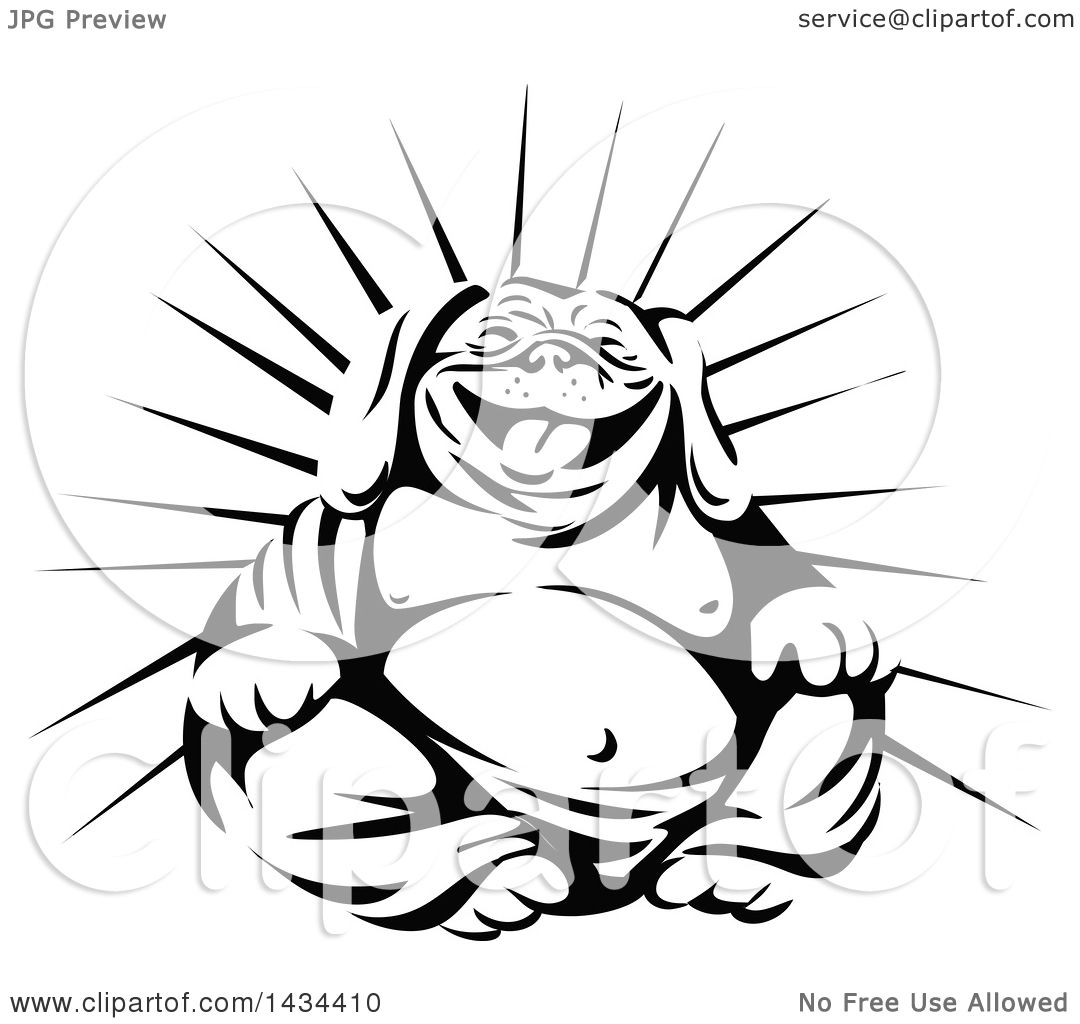 1080x1024 Clipart Of A Retro Black And White Laughing Buddha Bulldog