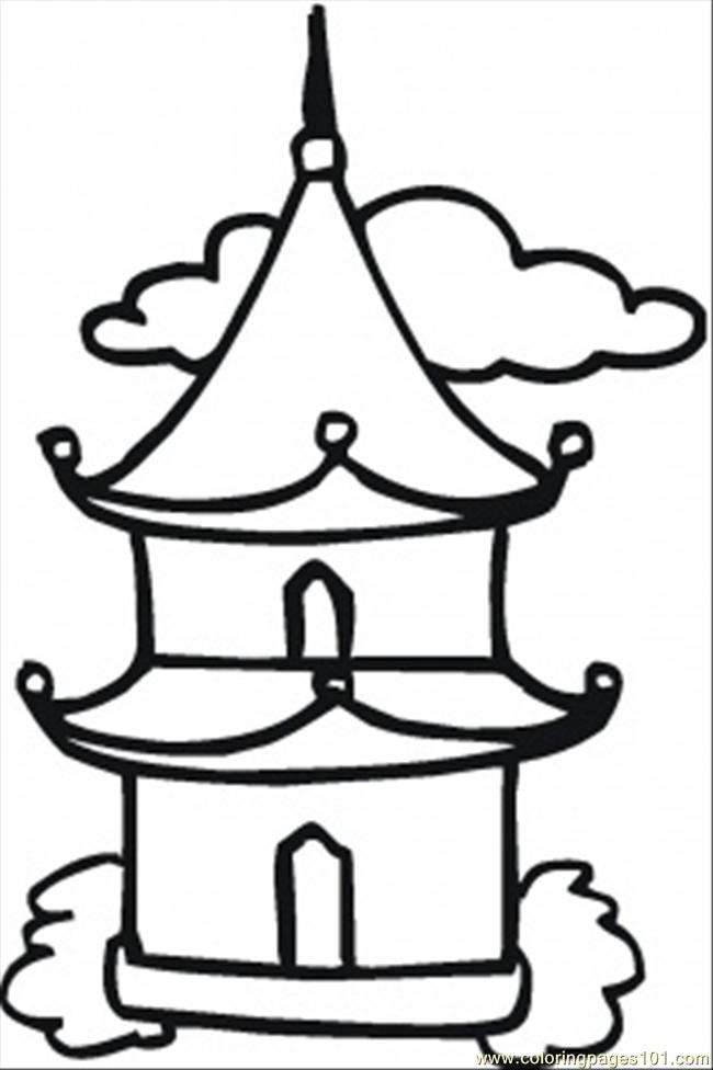 650x976 Little Buddhist Temple Coloring Page