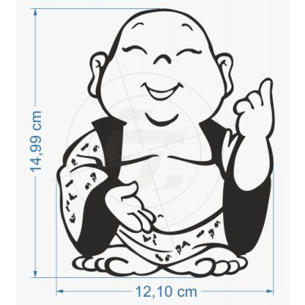 440x440 Sticker Funny Happiness Buddha, Type Positive