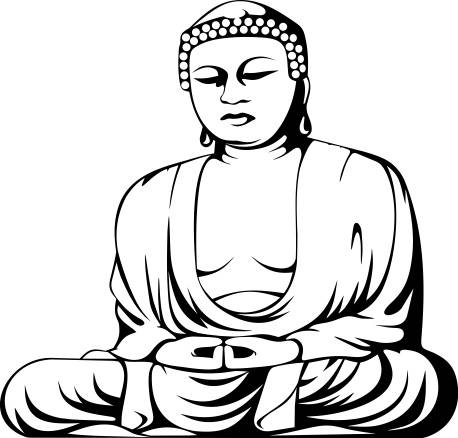 458x438 Traditional Buddha In Meditation Pose Vinyl Decal Sticker, Many