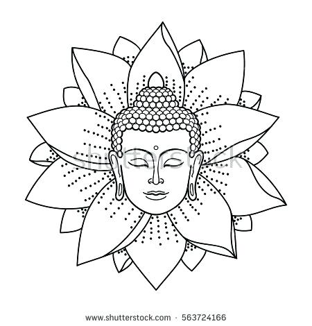 450x470 Buddhist Coloring Pages With Mandala Vector Illustration Vintage