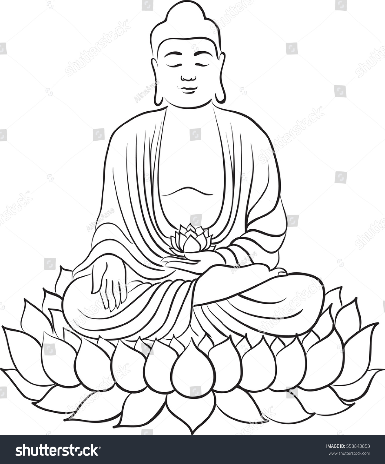 1329x1600 Drawing Of A Buddha Simple Buddha Drawing