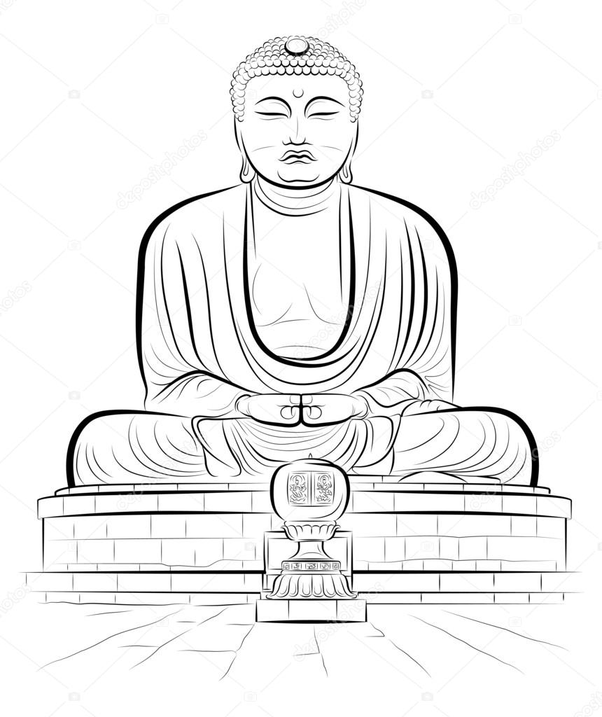860x1024 Drawing Giant Buddha Monument In Kamakura, Japan Stock Vector