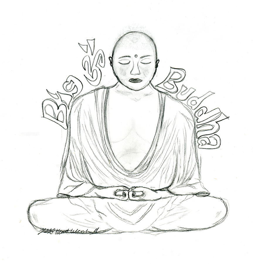 863x900 Big Buddha Drawing By Tessa Hunt Woodland