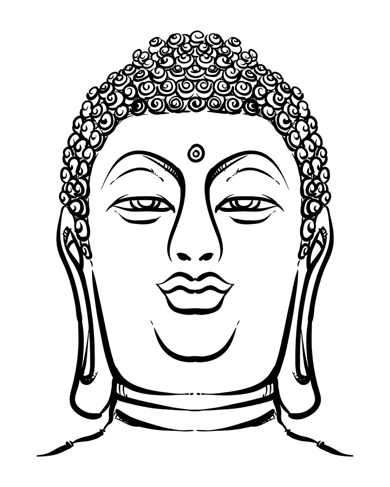 800x1000 Esoteric Vintage Hand Draw Vector Illustration. Thai Buddha Head