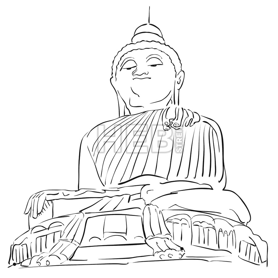 900x900 Big Buddha Phuket Outline Sketch Hebstreits