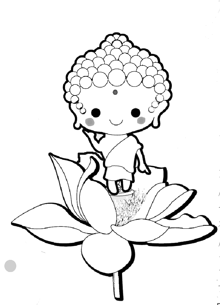 906x1257 Little Buddha Coloring Page