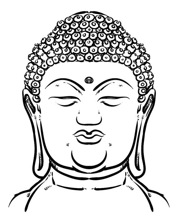 570x713 Thai Buddha Head Isolated. Esoteric Vintage Hand Draw Vector