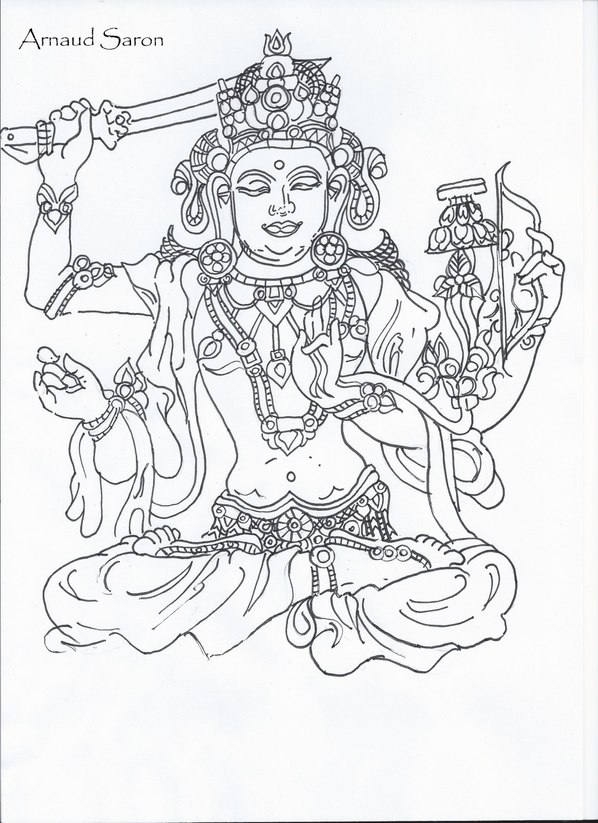 1163x1600 Manjushri, Buddhist Deity