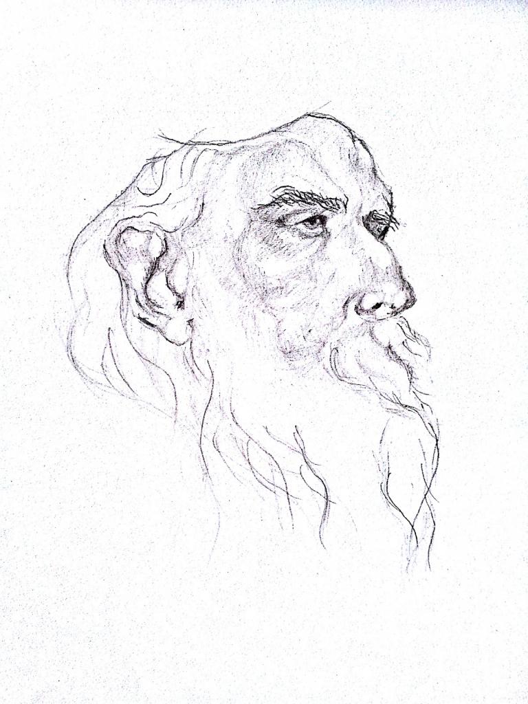 768x1024 Rabindranath Tagore Pencil Sketch