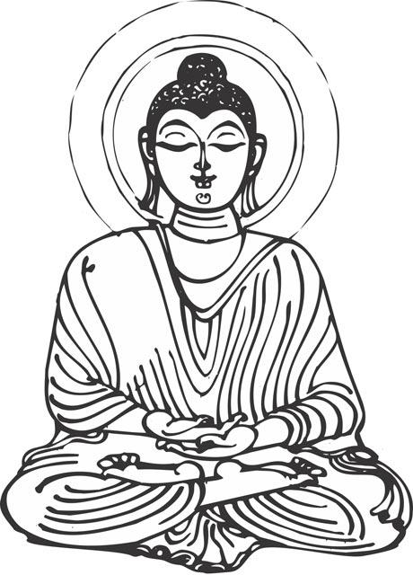460x650 Buddha Clipart Black And White