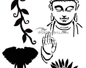 340x270 Buddha Stencil Etsy