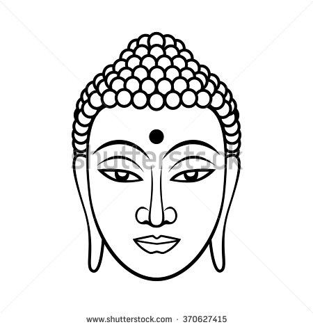 450x470 Buddha Face. Black Line Illustration On White Background