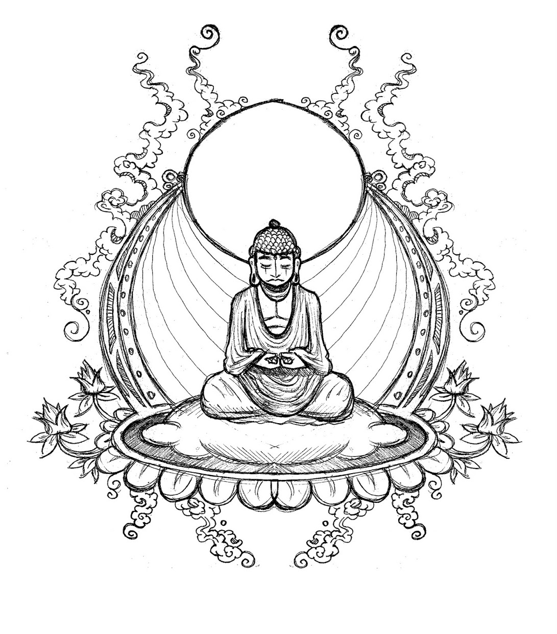1091x1242 Buddha Coloring Pages