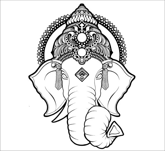 570x520 Ganesh Wall Decal Elephant Decal Ganesh Vinyl Sticker Decals