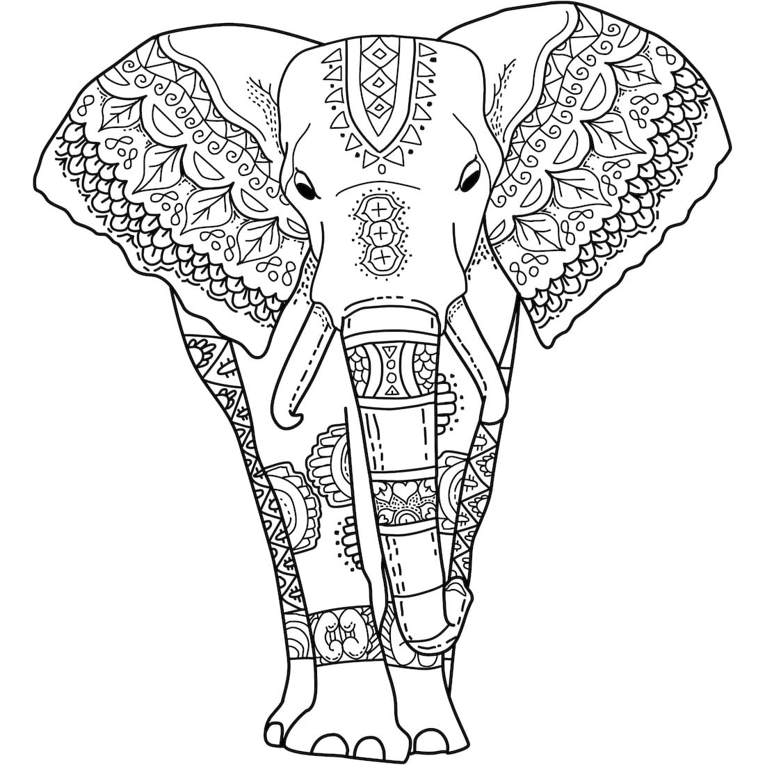 1100x1100 This Is Mystical Elephant A Coloring Page For You To Print