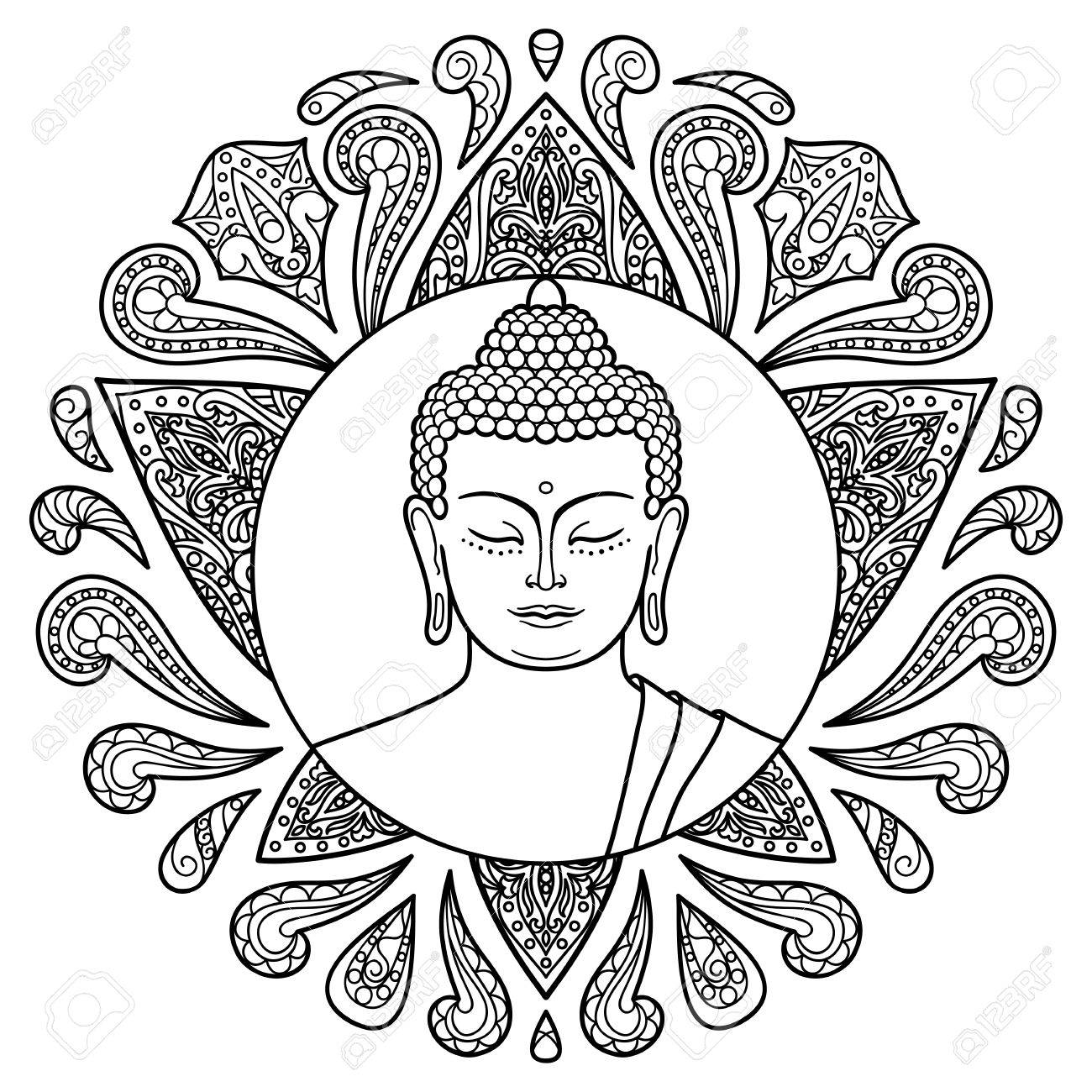 1300x1300 Buddha Head With Lotus Decoration. Sign For Tattoo, Textile Print