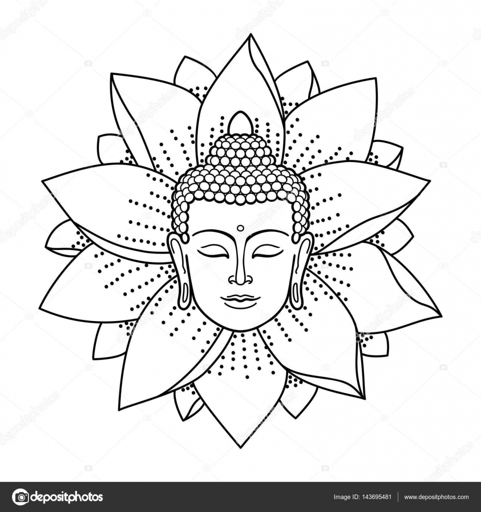 963x1024 Buddha Head And Lotus Stock Vector Kronalux