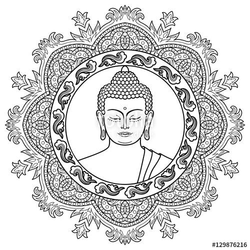 500x500 Buddha Head On Mandala Background Stock Image And Royalty Free