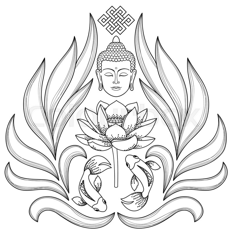 800x800 Buddha Head With Endless Knot, Lotus, Fishes On White Background
