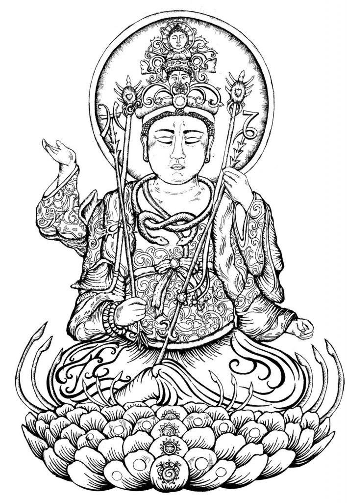 708x1024 Buddhism Coloring Page For Adults Buddha Statue Adult Mandala