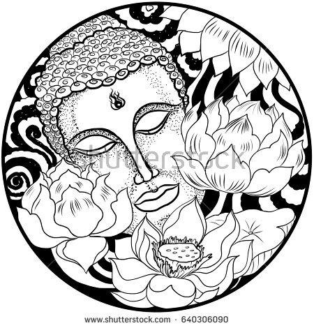 450x470 Drawn Circle Buddha
