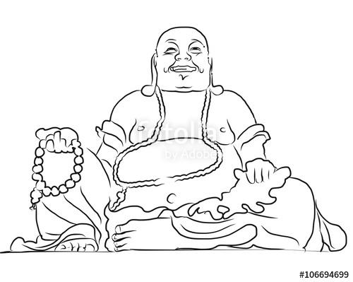 500x399 Maitreya Buddha Outline Vector Drawing Stock Image And Royalty