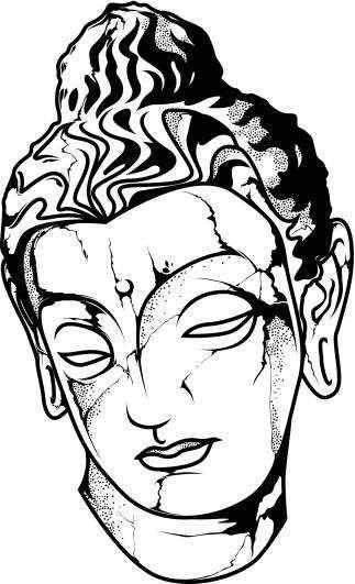 Buddha Head Line Drawing