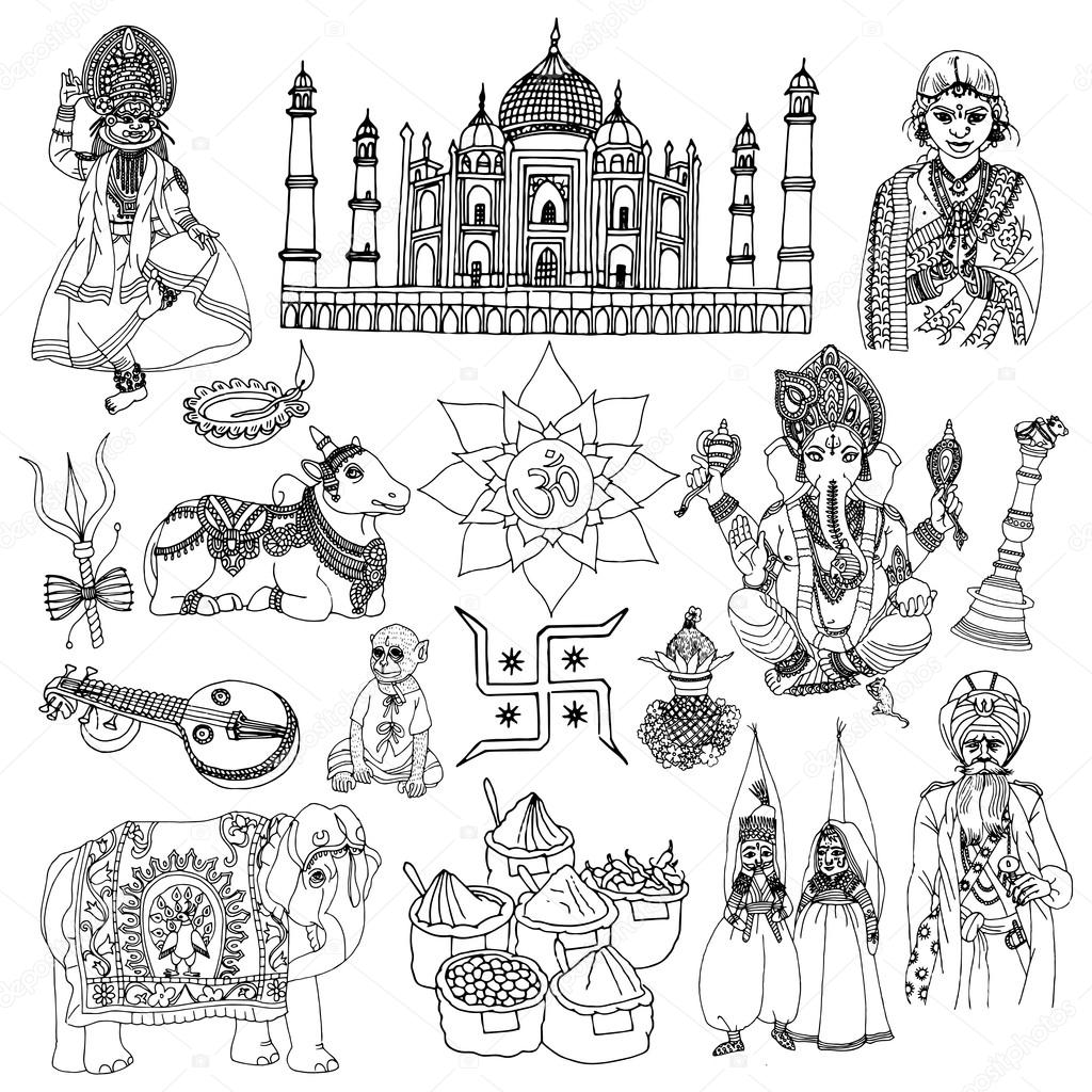 1024x1024 India Sketch Set Stock Vector Macrovector