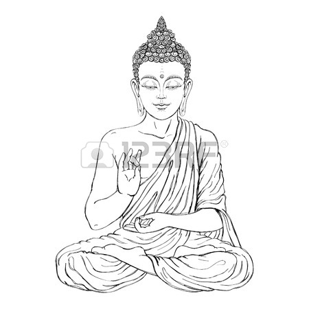 450x450 Seated Buddha In The Lotus Position. Vector Illustration On White
