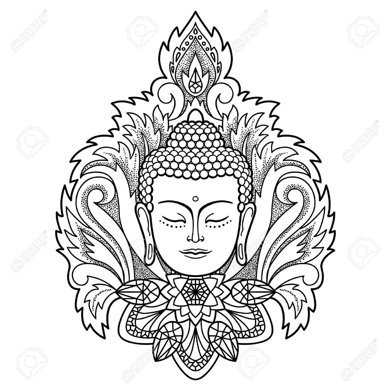 1300x1300 Buddha Head With Floral Decoration. Sign For Tattoo, Textile