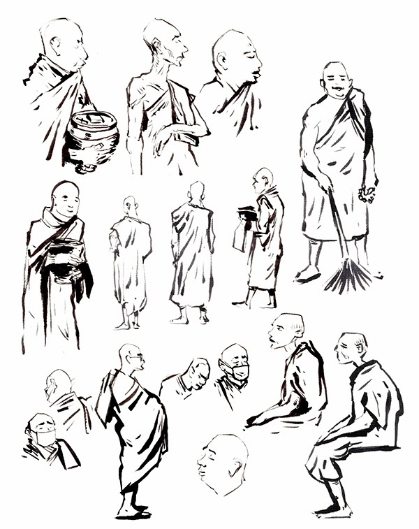 600x757 Erik Petri Illustration Buddhist Monks And Monestry, Inwa, Nov 12