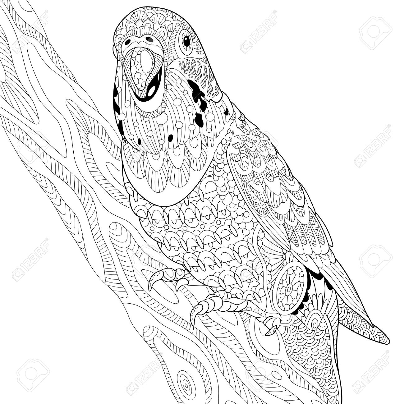 1300x1300 Stylized Cartoon Budgie Parrot Sitting On Tree Branch Royalty Free