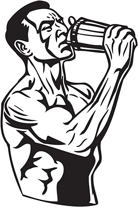 480x717 Muscle Buff Man With Protein Blender Vinyl Decal