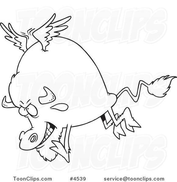 581x600 Cartoon Black And White Line Drawing Of A Buffalo With Wings
