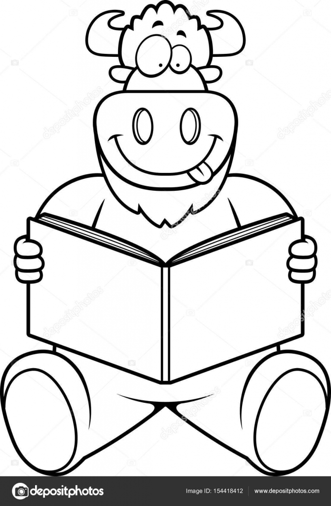 670x1024 Cartoon Buffalo Reading Stock Vector Cthoman