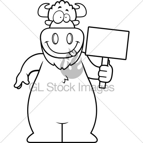 500x500 Cartoon Buffalo Sign Gl Stock Images