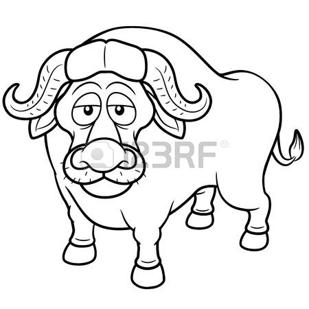 450x450 Vector Illustration Of African Buffalo Cartoon
