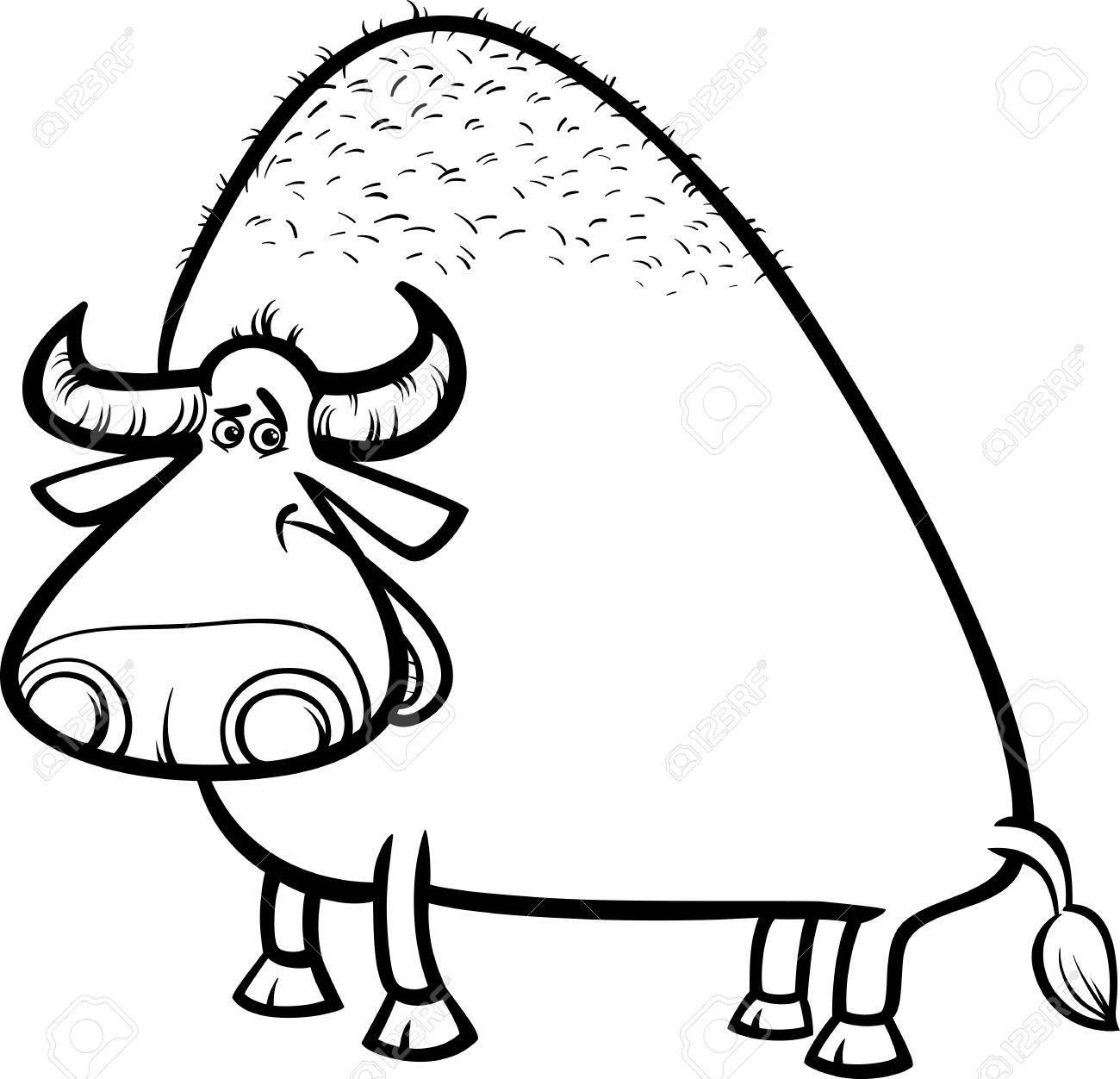1300x1252 Black And White Cartoon Illustration Of Funny Bull Or Buffalo
