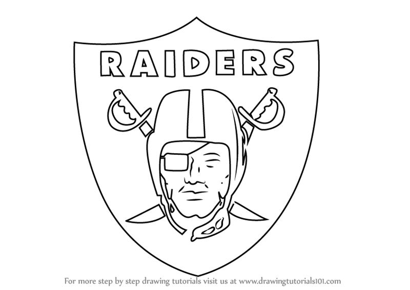 800x566 Learn How To Draw Oakland Raiders Logo (Nfl) Step By Step