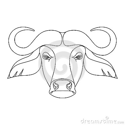 400x400 Isolated Black Outline Head Of Buffalo On White Background Line