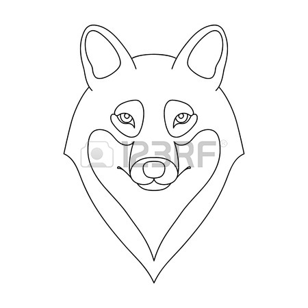 450x450 Isolated Black Outline Head Of Buffalo On White Background. Line
